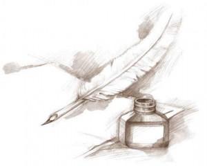 Dessin-Crayon-Plume-Feuille-Encrier_421